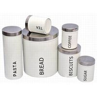 6pcs of round canister set (Bread, pasta, biscuits, tea, coffee and sugar)