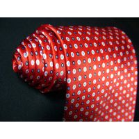 Red Printed Silk Necktie