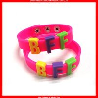 DIY silicone wristband with metal button for friendship