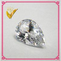Machine cut white pear shaped zirconia stone