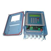 Transit time ultrasonic flow meter with clamp on transducer