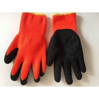 CE EN388 Approved Hv Orange Color 7g Acrylic Terry Loops Liner Black Natural Latex Palm&Thumb Coated