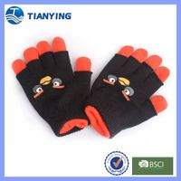 Tianying children knitted five fingers and mitten dual purpose gloves
