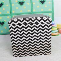 High quality fabric chevron pattern pine storage stool