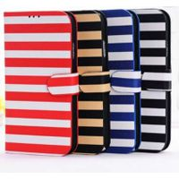 iPhone 6 Striped Pattern Leather Folio Cover Case with Stand thumbnail image