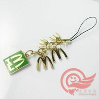 metal phone strap as mobile decoration with letter M