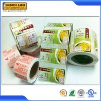 Printing food label packing on roll