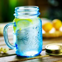 475ML Mason Jar with blue painting for ice drinking thumbnail image