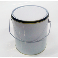4L white tin can, 3.7L gallon can with handles