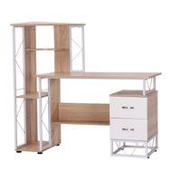 Modern Simple Designed Office Computer Desks Table Laptop Stand with bookcase-OAK