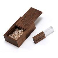 Walnut crystal USB flash drive with box