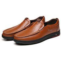 Comfy Casual Business Genuine Leather Slip On Soft Moc Toe Oxfords for Men - 11 Black
