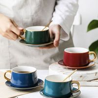 High Quality Gold Rim Saucer Set Advanced Creative Porcelain espresso Ceramic Coffee Cup