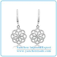 925 Sterling Silver Flower Earring with Rhodium Plated CZ Diamond