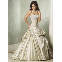 Ball Gown Strapless Court Train Satin Wedding Dress