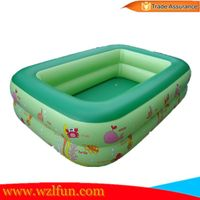 2016 new design summer hot sale Ocean 2 Ring Green Baby Pool Kids rectangular Inflatable Swimming Po