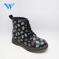 Cool design kids warm black boots girls printed martion boots