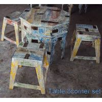 WOODEN COFFEE TABLE AND CHAIR SET thumbnail image