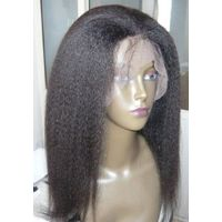 14'' Kinky straight 2#  Full lace wig 100% Indian Remy human hair