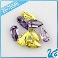 pear cut yellow synthetic loose diamond gemstone cz make in wuzhou thumbnail image