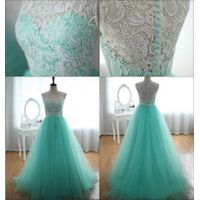 White Lace Top Mint Tulle Long Prom Gowns, Back Charming Lady Dresses, Real Photos Prom Gowns,Real C