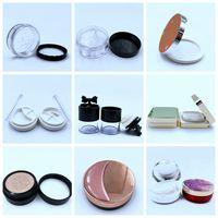 empty plastic loose powder palette case bottle jar cosmetics containers box with puff can custom pri thumbnail image