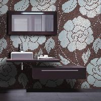 Winter Flowers Oro Nero JY-P-W08 Bisazza Flower Pattern Silver and Brown Glass Mosaic Tile thumbnail image