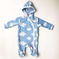 Cloud design new born baby sleeping suit hooded romper baby pramsuit