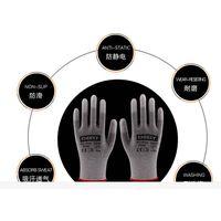 black pu coated gloves en388/black pu black nylon work gloves