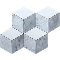Italy Carrara White Polished,Honed, Tumbled, 3D Cube Marble Mosaics