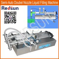 Semi automatic double head nozzle manual small mini bottle liquid honey sausage jam filling machine