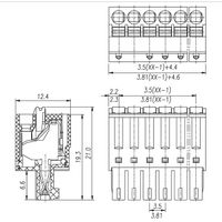 Wire-to-Board 8 Position 3.81mm Row Top Wire Entry Angle 28-16AWG Wire Size Terminal Blocks Plug thumbnail image