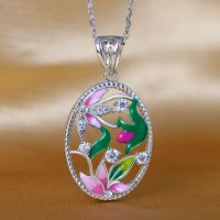 Enamel pendant European and American fashion silver jewelry design and OEM