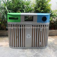Outdoor metal flat bar recycling waste bin