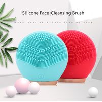 Electric Face Cleansing Brush Dual Silicone Mini Portable Face Massager Waterproof Sonic Vibration thumbnail image