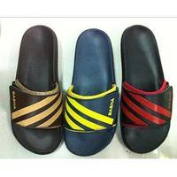 Women open toe wedge heel slippers with embossed logo thumbnail image