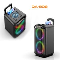 CQA 2020 new private model active professional speaker 8inch trolley speaker with mic/light/FM