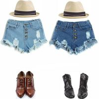 Fashion Women High Waist Vintage Jeans Hole Short Jeans Denim Shorts Pants