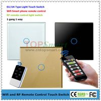 EU/UK Wifi Mobile APP Remote Control Toughened Glass Panel Light Touch switches