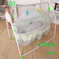 automatic swing baby cribs RC baby rocking bed detachalbe new born baby bed with bed net China