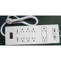 8 outlets US extension socket with 2USB