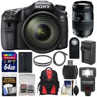 Sony Alpha A77 II-WiFi Digital SLR Camera & 16-50mm Lens with 70-300mm Lens + 64GB Card + Battery +