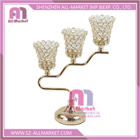 ZSG17513 Wedding Decoration Gold Plate 3 Arms Crystal Candelabrum thumbnail image