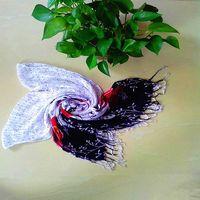 Polka Dot & Rose Head Scarf Shawl Floral Flower
