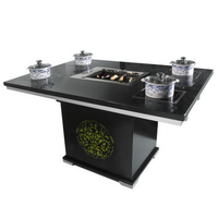 korean barbeque and hot pot table with good quality quartz stone and durable metal base