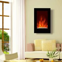 "23""Black Flat Tempered Glass Standing Wall Mounted Electric Fireplace Heater(Pebbles Fuel) LED flame"