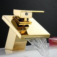 single handle deck mounted golden finished bathroom faucet thumbnail image