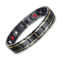 Health Energy Bracelets Black Magnetic Stainless Steel Charms Bangle Power Germanium Bracelet Jewelr