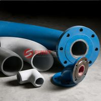 Erosion acid, abrasion resistant ceramic lined steel elbow