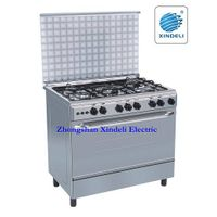 Freestanding five burner cooker with oven